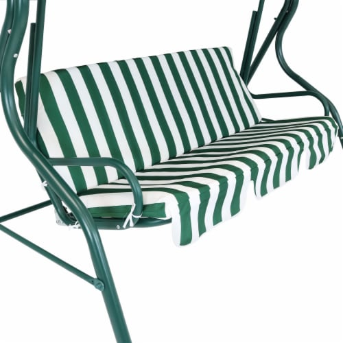 Sunnydaze 3-Person Striped Cushion Seat Outdoor Canopy Porch Patio Swing - Green Perspective: back