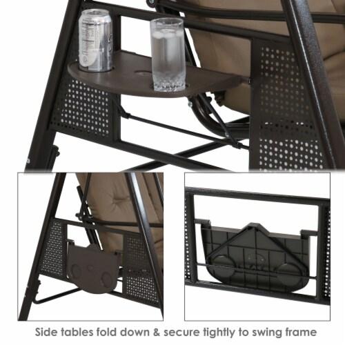 Sunnydaze 2-Person Outdoor Adjustable Tilt Canopy Patio Loveseat Swing - Beige Perspective: back