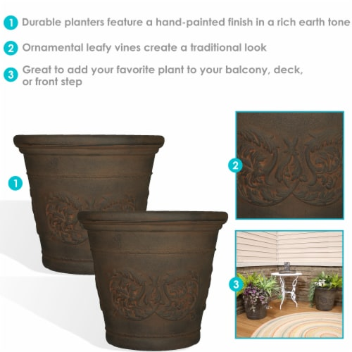 Sunnydaze Arabella Outdoor Flower Pot Planter  - Sable Finish - 20-Inch - 2-Pack Perspective: back