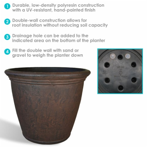 Sunnydaze Anjelica Outdoor Flower Pot Planter - Rust Finish - 24-Inch - 4-Pack Perspective: back