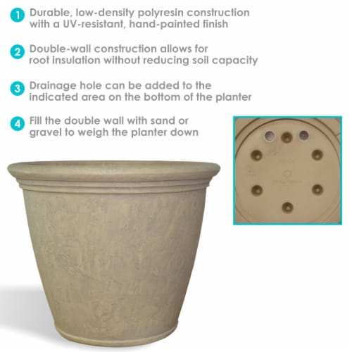 "Sunnydaze Anjelica Outdoor Double-Walled Flower Pot Planter - Beige - 24"" - 2-PK Perspective: back"