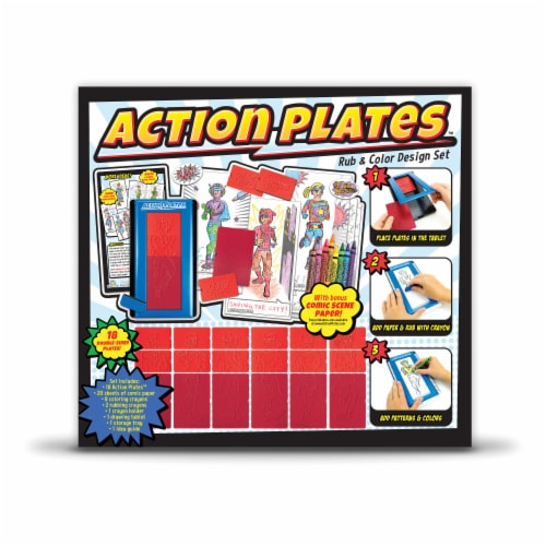 Kahootz Action Plates Rub & Color Design Set Perspective: back