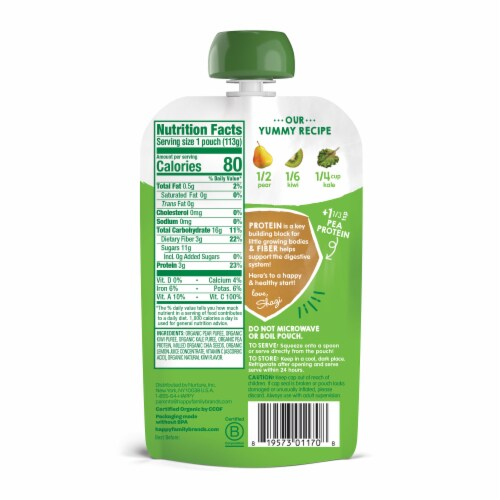 Happy Tot Organics Fiber & Protein Pears Kiwi & Kale Stage 4 Baby Food Perspective: back