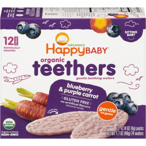 Happy Baby® Organics Gluten Free Teethers Blueberry & Purple Carrot Gentle Teething Wafers Perspective: back