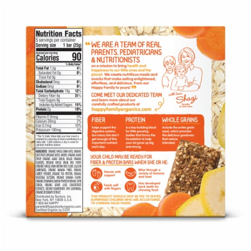 Happy Tot Fiber & Protein Soft-Baked Banana & Carrot Bars 5 Count Perspective: back