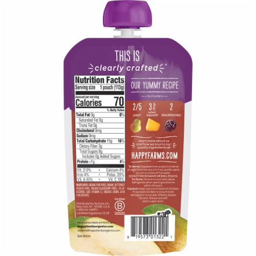 Happy Baby® Organics Clearly Crafted Pears Squash & Blackberries Stage 2 Baby Food Pouch Perspective: back
