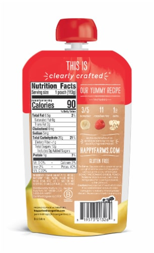 Happy Baby Organics Clearly Crafted Bananas Raspberries & Oats Stage 2 Baby Food Perspective: back