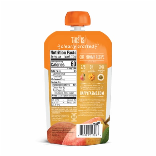 Happy Baby Organics Pears Pumpkin & Passion Fruit Stage 2 Baby Food Pouch Perspective: back