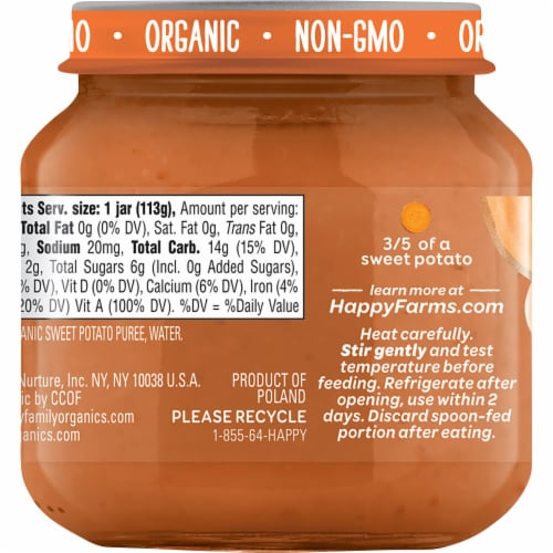 Happy Baby® Organics Sweet Potatoes Stage 1 Baby Food Perspective: back