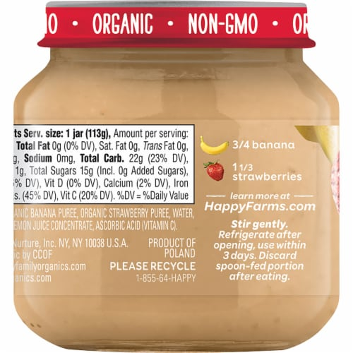 Happy Baby® Organics Bananas & Strawberries Stage 2 Baby Food Perspective: back