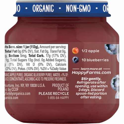 Happy Baby® Organics Stage 2 Apples & Blueberries Baby Food Perspective: back