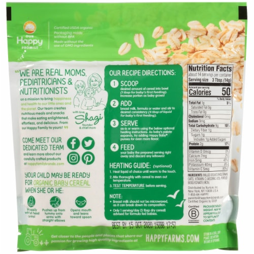 Happy Baby® Organics Clearly Crafted Oatmeal Baby Cereal Perspective: back
