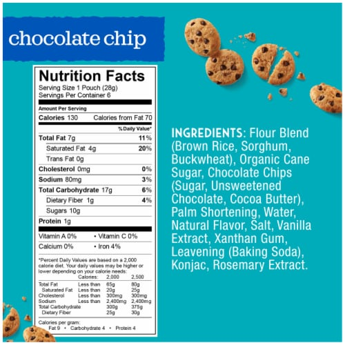 Enjoy Life Crunchy Chocolate Chip Mini Cookie Snack Packs 6 Count Perspective: back