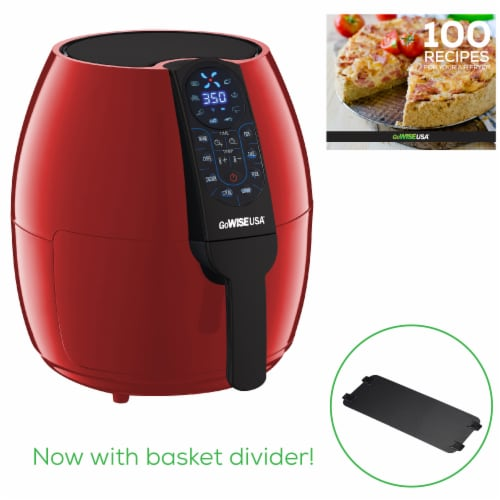 GoWISE USA 5-Quart Air Fryer with 8 Cook Presets, Red Perspective: back