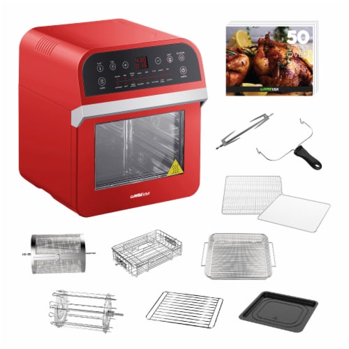 GoWISE USA Deluxe 12.7-Quarts 15-in-1 Electric Air Fryer Oven, Red Perspective: back