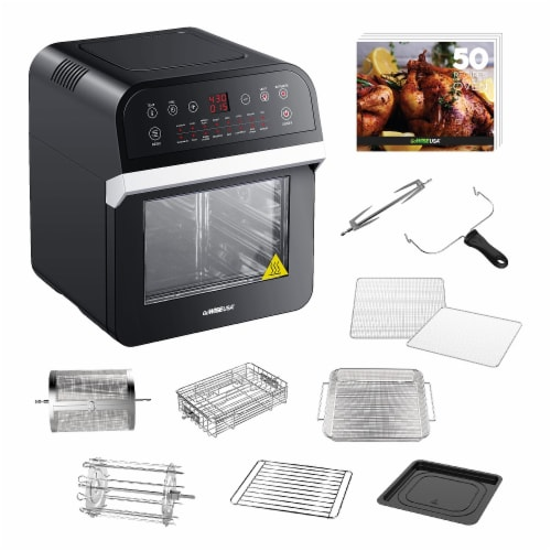 GoWISE USA Deluxe 12.7-Quarts 15-in-1 Electric Air Fryer Oven, Black/Silver Perspective: back