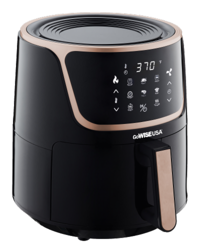 GoWISE USA 7-Quart Electric Air Fryer with Dehydrator, Black/Copper Perspective: back