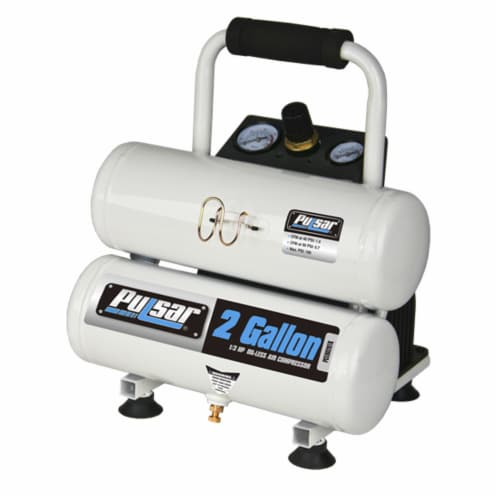 Pulsar Twin Tank Air Compressor with Nail Gun Perspective: back