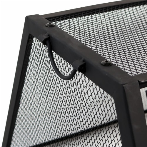 """Sunnydaze 36"""" Fire Pit Steel Northland Grill with Spark Screen and Vinyl Cover Perspective: back"""
