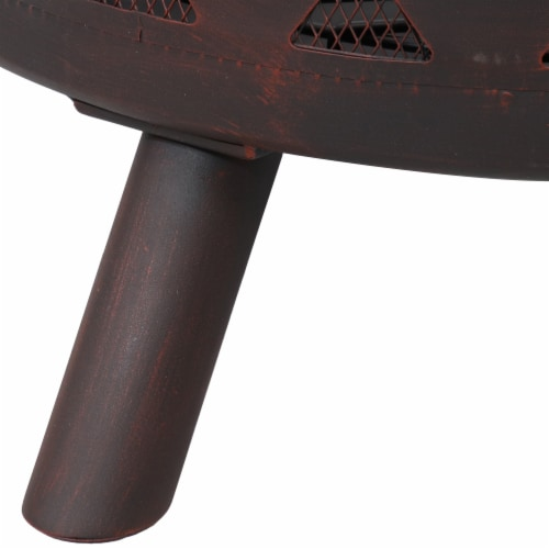 "Sunnydaze 36"" Fire Pit Steel with Bronze Finish Crossweave with Spark Screen Perspective: back"