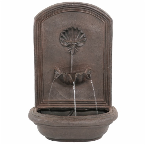 """Sunnydaze Seaside Solar-Only Outdoor Wall Water Fountain - 27"""" - Iron Finish Perspective: back"""