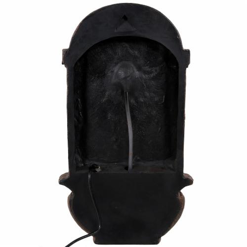 "Sunnydaze Venetian Solar with Battery Outdoor Wall Fountain 27"" Iron Finish Perspective: back"
