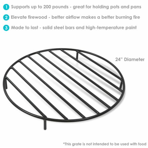 """Sunnydaze Firewood Grate Round Black Steel Outdoor Fire Pit Accessory  - 24"""" Perspective: back"""