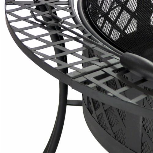 "Sunnydaze 40"" Fire Pit Black Steel Diamond Weave Design with Spark Screen Perspective: back"