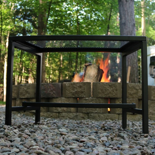 """Sunnydaze Curved Black Mesh Outdoor Patio Fire Pit Bench - 23"""" x 16"""" - 1 Bench Perspective: back"""
