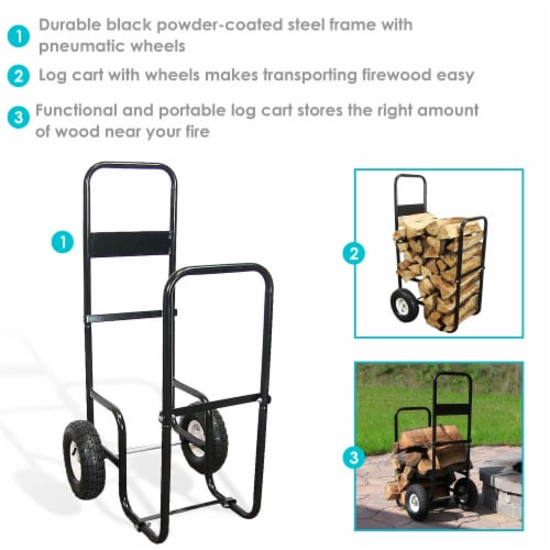 Sunnydaze Log Cart Steel Heavy-Duty Rolling Wheeled Firewood Carrier Dolly Perspective: back