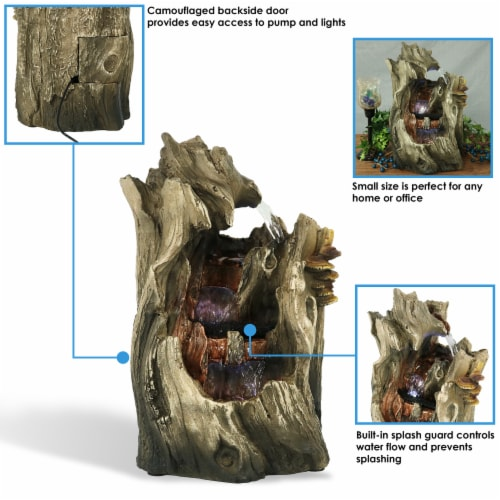 """Sunnydaze Cascading Caves Waterfall Water Tabletop Fountain Feature w/ LED - 14"""" Perspective: back"""