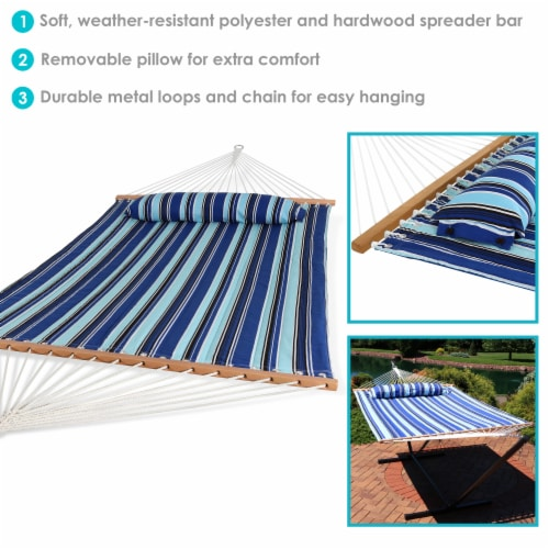 Sunnydaze 2-Person Quilted Spreader Bar Hammock Bed and Pillow - Catalina Beach Perspective: back