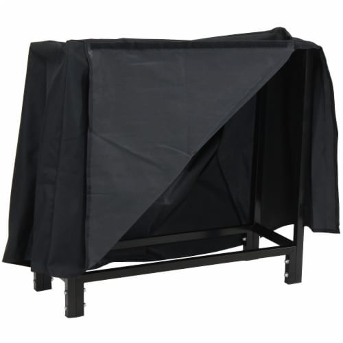 """Sunnydaze Firewood Steel Log Rack Storage Holder with Black PVC Cover - 30"""" Perspective: back"""