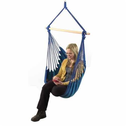 Sunnydaze Indoor-Outdoor Hanging Hammock Swing and 2 Cushions - Oasis - Set of 2 Perspective: back