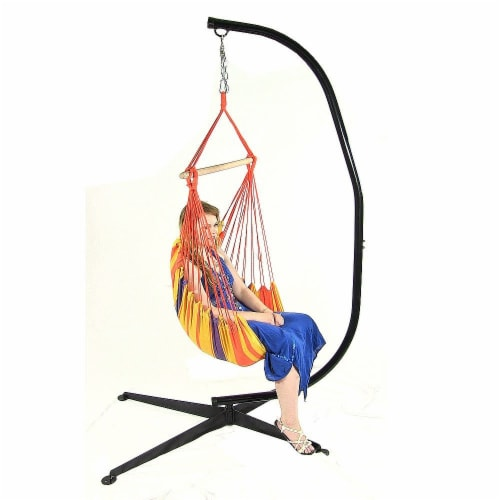 Sunnydaze Indoor-Outdoor Hammock Chair Swing and C-Stand Set - Summer Breeze Perspective: back