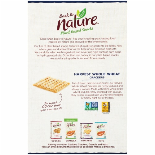 Back to Nature Harvest Whole Wheat Crackers Perspective: back