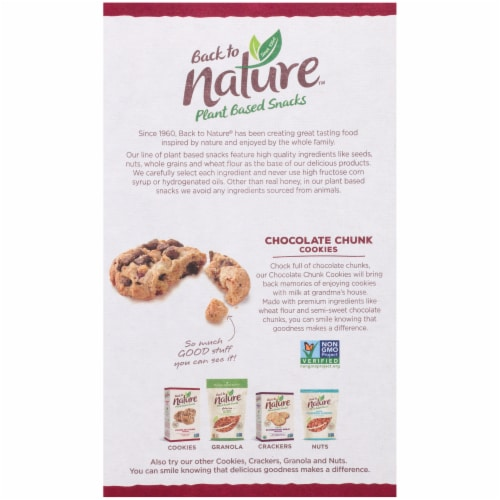 Back to Nature Plant Based Chocolate Chunk Cookies Perspective: back