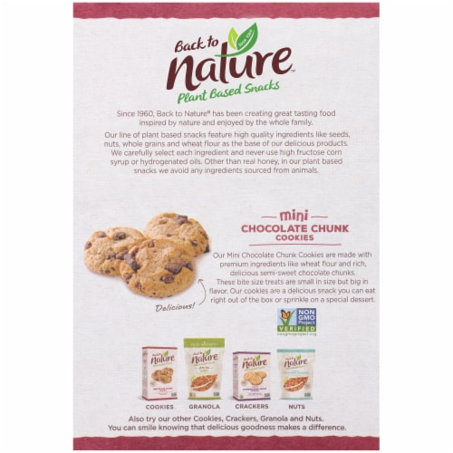 Back to Nature™ Plant Based Mini Chocolate Chunk Cookies Perspective: back