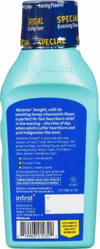 Mylanta Honey Chamomile Liquid Antacid Anti-Gas Heartburn Relief Perspective: back