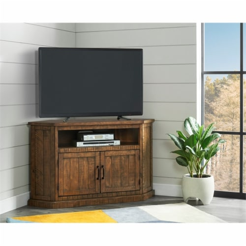 Martin Svensson Home Rustic Corner 50  Solid Wood TV Stand Natural Brown Perspective: back