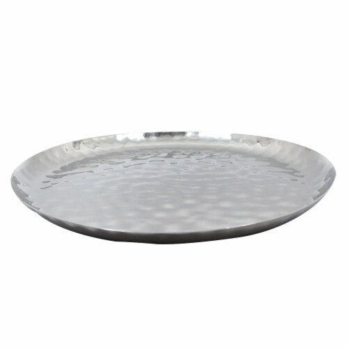 """Full Polished Stainless Steel 14"""" Round Service Tray Perspective: back"""