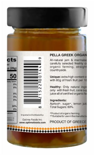 Pella Organic Apricot Jam Perspective: back