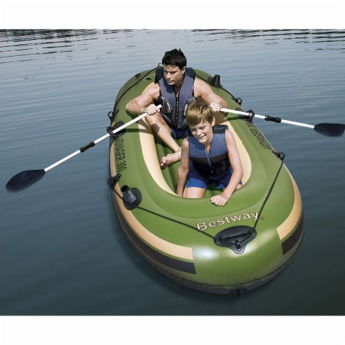 """Bestway Hydro Force Voyager 300 96"""" Inflatable River Boat w/ Aluminum Raft Oars Perspective: back"""
