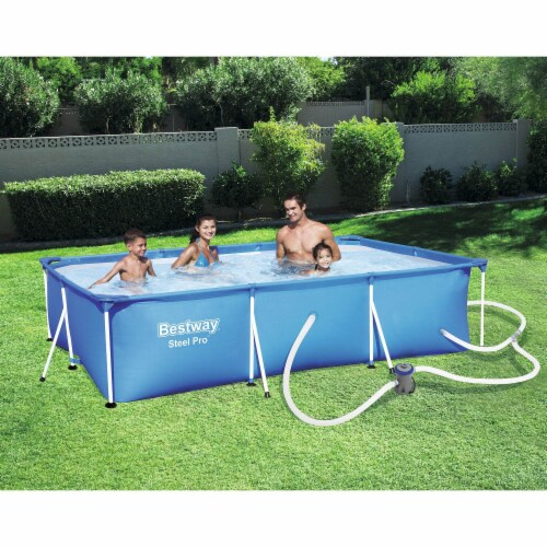 Bestway Steel Pro 9.8ft x 6.6ft x 26in Above Ground Swimming Pool Set with Pump Perspective: back