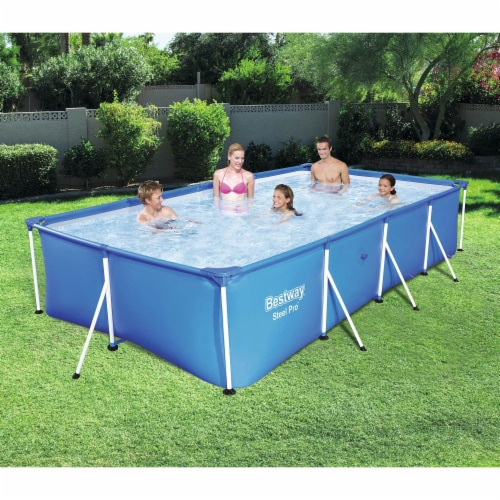 Bestway Steel Pro 13' x 7' x 32  Rectangular Frame Above Ground Swimming Pool Perspective: back