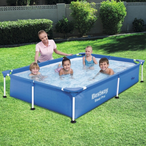 Bestway Steel Pro 7.25 x 4.9 x 1.4 Ft Rectangular Above Ground Kids Swimming Pool Perspective: back