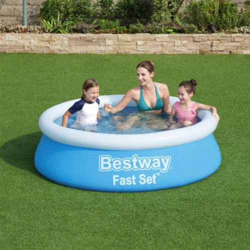 Bestway Fast Set 6 Foot x 20 Inch Outdoor Inflatable Round Swimming Pool Set Perspective: back