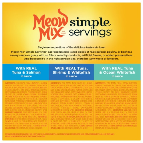 Meow Mix Simple Servings Seafood Wet Cat Food Variety Pack Perspective: back