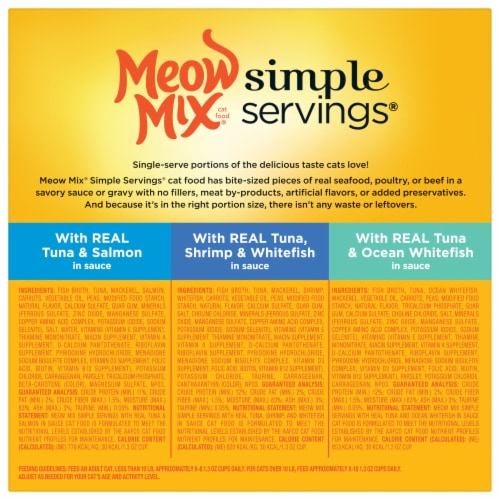 Meow Mix Simple Servings Seafood Wet Cat Food Variety Pack 24 Count Perspective: back