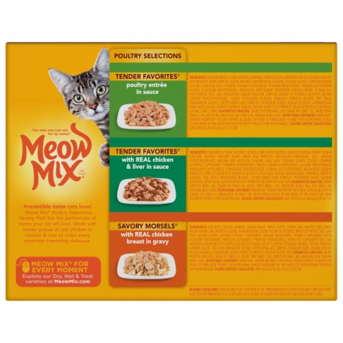 Meow Mix Poultry Selections Wet Cat Food Variety Pack 24 Count Perspective: back